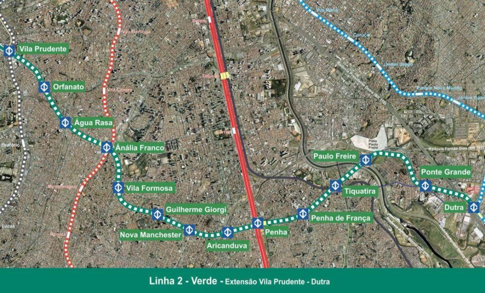 Mapa da extensão Linha 2-Verde entre a Vila Prudente e a Dutra